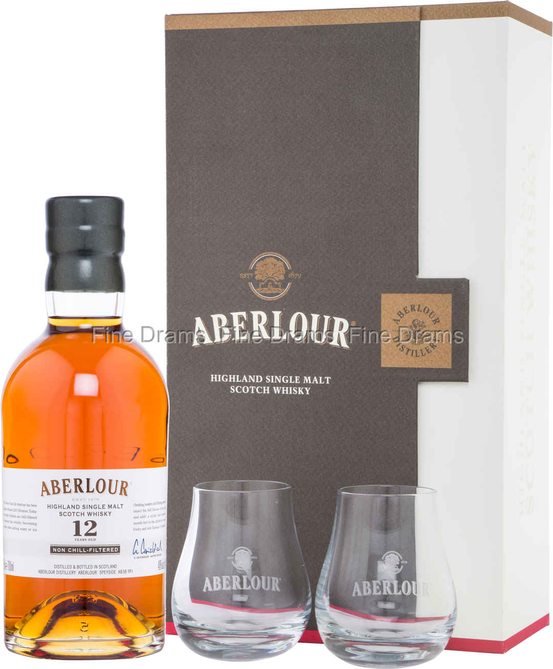 aberlour 12 year old non chill filtered whisky gift set 2 glasses