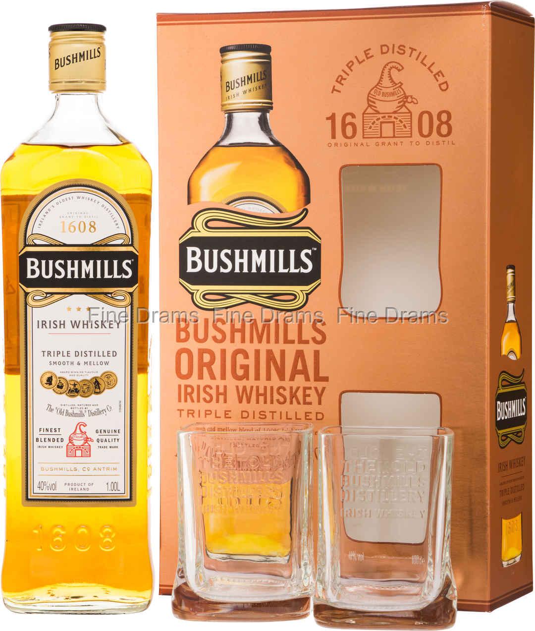 Bushmills Original (1 Liter) Gift Set - 2 Glasses